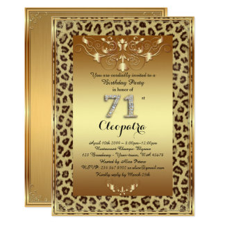 71st, Birthday Party 71st, Royal Cheetah gold plus Card