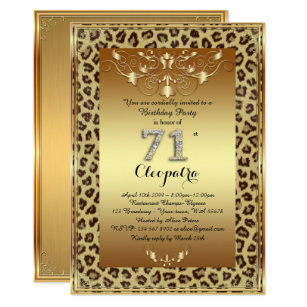 Cheetah Vertical 5x7 Birthday Invitations