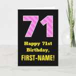 "[ Thumbnail: 71st Birthday: Pink Stripes and Hearts ""71"" + Name Card ]"