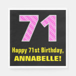 "[ Thumbnail: 71st Birthday: Pink Stripes and Hearts ""71"" + Name Napkins ]"