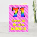 [ Thumbnail: 71st Birthday: Pink Stripes & Hearts, Rainbow # 71 Card ]