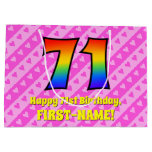 [ Thumbnail: 71st Birthday: Pink Stripes & Hearts, Rainbow # 71 Gift Bag ]