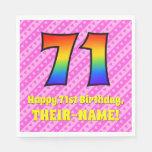 [ Thumbnail: 71st Birthday: Pink Stripes & Hearts, Rainbow # 71 Napkins ]