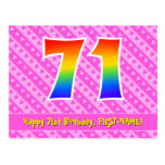 [ Thumbnail: 71st Birthday: Pink Stripes & Hearts, Rainbow 71 Postcard ]