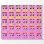 [ Thumbnail: 71st Birthday: Pink Stripes & Hearts, Rainbow # 71 Wrapping Paper ]