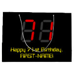 "[ Thumbnail: 71st Birthday: Red Digital Clock Style ""71"" + Name Gift Bag ]"