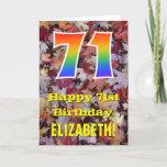 "[ Thumbnail: 71st Birthday; Rustic Autumn Leaves; Rainbow ""71"" Card ]"