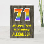 "[ Thumbnail: 71st Birthday: Rustic Faux Wood Look, Rainbow ""71"" Card ]"