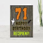 [ Thumbnail: 71st Birthday: Spooky Halloween Theme, Custom Name Card ]