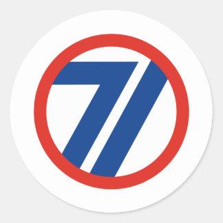 71ST Infantry Division Round Sticker