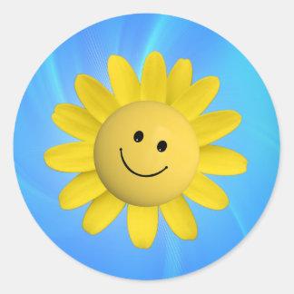 720227 HAPPY SUN FLOWER SMILIE FACE CARTOON GRAPHI CLASSIC ROUND STICKER