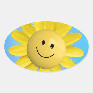 720227 HAPPY SUN FLOWER SMILIE FACE CARTOON GRAPHI OVAL STICKER