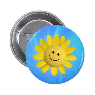 720227 HAPPY SUN FLOWER SMILIE FACE CARTOON GRAPHI PINBACK BUTTON