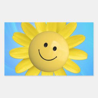 720227 HAPPY SUN FLOWER SMILIE FACE CARTOON GRAPHI RECTANGULAR STICKER