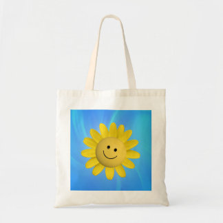 720227 HAPPY SUN FLOWER SMILIE FACE CARTOON GRAPHI TOTE BAG