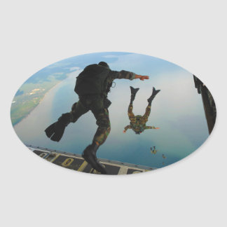 720h Special Tactics Group Jumping Out of Planet Oval Sticker
