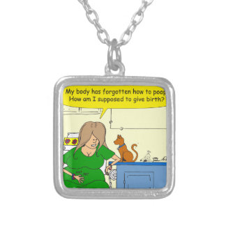 729 Supposed to give birth cartoon Silver Plated Necklace