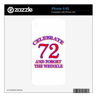 72 birthday design iPhone 4 skin