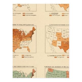 72 densidades, proporción, aumento, extranjero postales