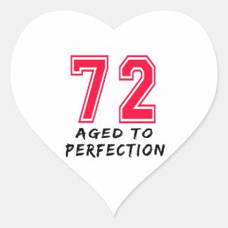 72 envejeció al diseño del cumpleaños de la pegatinas corazon personalizadas