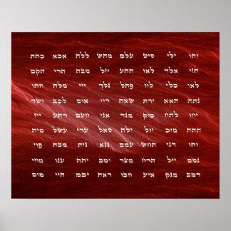 72 nombres del arte de la meditación de dios póster