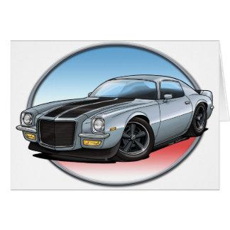 72 Silver Camaro.png Greeting Cards