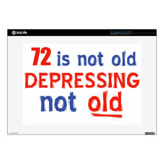 """72 year birthday designs 15"""" laptop decals"""
