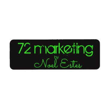 Beach Themed 72marketing label sticker neon green black address