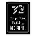 """[ Thumbnail: 72nd Birthday — Art Deco Inspired Look """"72"""" + Name Card ]"""