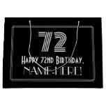 "[ Thumbnail: 72nd Birthday — Art Deco Inspired Look ""72"" & Name Gift Bag ]"