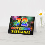 [ Thumbnail: 72nd Birthday: Bold, Fun, Fireworks, Rainbow 72 Card ]