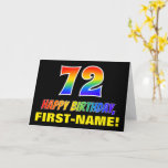 [ Thumbnail: 72nd Birthday: Bold, Fun, Simple, Rainbow 72 Card ]