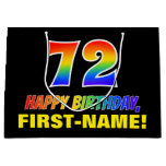 [ Thumbnail: 72nd Birthday: Bold, Fun, Simple, Rainbow 72 Gift Bag ]