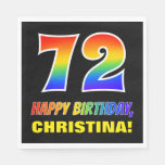 [ Thumbnail: 72nd Birthday: Bold, Fun, Simple, Rainbow 72 Napkins ]