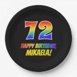 [ Thumbnail: 72nd Birthday: Bold, Fun, Simple, Rainbow 72 Paper Plate ]