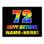 [ Thumbnail: 72nd Birthday: Bold, Fun, Simple, Rainbow 72 Postcard ]