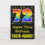 [ Thumbnail: 72nd Birthday: Colorful Music Symbols + Rainbow 72 Card ]