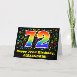 [ Thumbnail: 72nd Birthday: Colorful Music Symbols & Rainbow 72 Card ]
