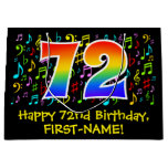 [ Thumbnail: 72nd Birthday - Colorful Music Symbols, Rainbow 72 Gift Bag ]