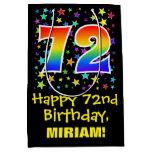 [ Thumbnail: 72nd Birthday: Colorful Stars Pattern & Rainbow 72 Gift Bag ]