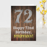 [ Thumbnail: 72nd Birthday: Country Western Inspired Look, Name Card ]