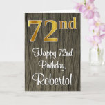 [ Thumbnail: 72nd Birthday: Elegant Faux Gold Look #, Faux Wood Card ]