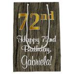 [ Thumbnail: 72nd Birthday: Elegant Faux Gold Look #, Faux Wood Gift Bag ]