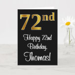 [ Thumbnail: 72nd Birthday ~ Elegant Luxurious Faux Gold Look # Card ]