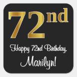 [ Thumbnail: 72nd Birthday – Elegant Luxurious Faux Gold Look # Sticker ]