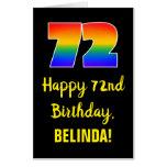 [ Thumbnail: 72nd Birthday: Fun, Colorful, Happy, Rainbow # 72 Card ]