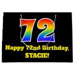 [ Thumbnail: 72nd Birthday ~ Fun, Colorful, Vibrant, Rainbow 72 Gift Bag ]