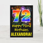 [ Thumbnail: 72nd Birthday: Fun Fireworks Pattern + Rainbow 72 Card ]