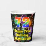 [ Thumbnail: 72nd Birthday: Fun Fireworks Pattern + Rainbow 72 ]