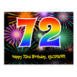 [ Thumbnail: 72nd Birthday – Fun Fireworks Pattern + Rainbow 72 Postcard ]